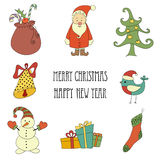 Christmas retro elements and illustrations, lettering. Stock Photography