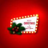 Christmas retro frame with realistic glowing lights, pine branch Stock Images