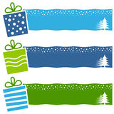 Christmas Retro Gifts Horizontal Banners. A collection of three Christmas horizontal banners with retro gifts on blue and green background. Eps file available Stock Photos