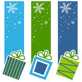 Christmas Retro Gifts Vertical Banners. A collection of three Christmas vertical banners with retro gifts on blue and green background. Eps file available Royalty Free Stock Photography