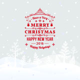 Christmas retro greeting card and background with hand-drawn Christmas tree and congratulation Royalty Free Stock Photos