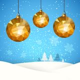 Christmas retro greeting card ball snow Stock Image