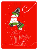 Christmas retro greeting card with decoration Stock Photography