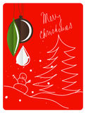 Christmas retro greeting card with decoration Royalty Free Stock Images