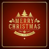 Christmas retro greeting card vector illustration Stock Photography