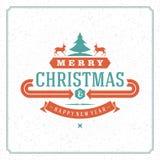 Christmas retro greeting vard vector illustration Stock Photos