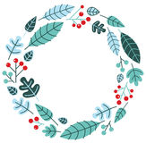 Christmas retro holiday wreath Stock Images