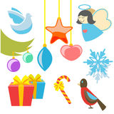 Christmas retro icons, elements and illustrations Stock Images