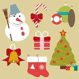 Christmas retro icons, elements and illustrations Royalty Free Stock Image