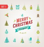 Christmas retro icons, logo, elements and Royalty Free Stock Images