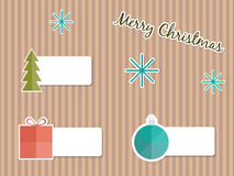 Christmas retro labels. Tree, present, bauble Royalty Free Stock Image