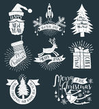 Christmas retro logos. On a dark background vector illustration