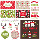 Christmas Retro Party Set Stock Photos