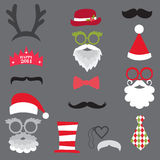 Christmas Retro Party set - Glasses, hats, lips, m Stock Photo