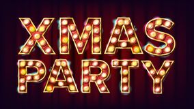 Christmas Retro Party Sign Vector. Realistic Retro Shine Lamp Bulb. Poster, Flyer, Banner, Brochure Template. Christmas. Event. Illustration Stock Images