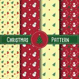 Christmas Retro Patterns with Snowman, Christmas tree and Candy Stock Images