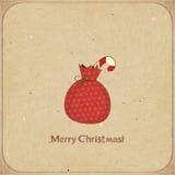 Christmas retro postcard with gift bag Royalty Free Stock Image