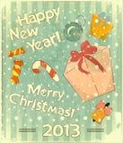 Christmas retro postcard with toys and gift Box Stock Image