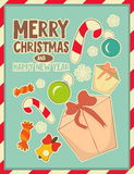 Christmas retro postcard with toys and gift Box Royalty Free Stock Photography