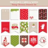 Christmas Retro Set Design Elements Royalty Free Stock Photo