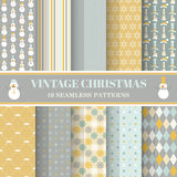 Christmas Retro Set - 10 patterns. Christmas Retro Set - 10 seamless patterns - for design, photo booth in vector Stock Images