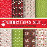 Christmas Retro Set - 8 seamless patterns Royalty Free Stock Images