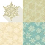Christmas retro snowflakes seamless pattern set. Stock Photo