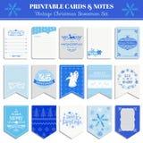 Christmas Retro Snowflakes Set Stock Photos