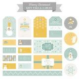 Christmas Retro Snowman Set Design Elements Stock Photos