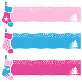 Christmas Retro Socks Horizontal Banners Stock Image