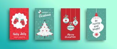 Christmas retro style cute greeting card set. Merry Christmas set of greeting card, holiday designs with cute retro festive xmas season decoration vector illustration