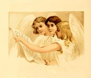Christmas retro theme. Angels Stock Images