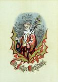 Christmas retro theme. Santa Claus. Public domain from the book: Hellier rind regards may 1872 Stock Images