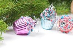 Christmas retro tree cupcake toys Royalty Free Stock Photos