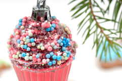 Christmas retro tree toy over defocused background Royalty Free Stock Images