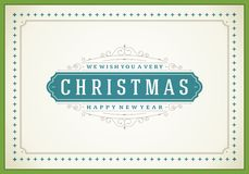 Christmas retro typographic and ornament Stock Photo