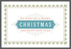 Christmas retro typographic and ornament Royalty Free Stock Photos