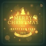 Christmas retro typography and light background Royalty Free Stock Photo