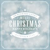 Christmas retro typography and light background Royalty Free Stock Image