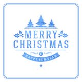 Christmas retro typography and ornament decoration Stock Photo