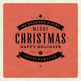 Christmas retro typography and ornament decoration Stock Images