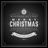 Christmas retro typography and ornament decoration Stock Image