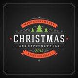 Christmas retro typography and ornament decoration Royalty Free Stock Image