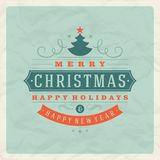 Christmas retro typography and ornament decoration Royalty Free Stock Photo