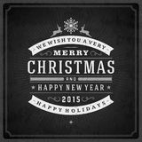 Christmas retro typography and ornament decoration Stock Photography