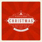 Christmas retro typography and ornament decoration Royalty Free Stock Photography