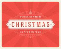 Christmas retro typography and ornament decoration Royalty Free Stock Images