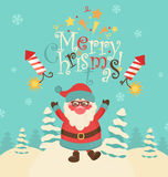 Christmas retro vector illustration with Santa. Stock Photography