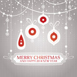 Christmas retro vintage greeting card. Vector illustration Stock Images
