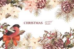 Christmas retro watercolor decorative composition Stock Image